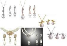 SILVER OR GOLD 3 DESIGN CREAM GLASS PEARL NECKLACE/ PENDANT SETS