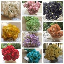50 Artificial Mulberry Paper flowers Handmade Scrap-booking Craft Rose D.I.Y 3cm