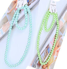 TURQUOISE OR GREEN GLASS PEARL DROP NECKLACE, EARRINGS & BRACELET SET