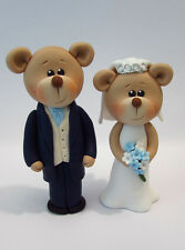 Bear Bride and Groom Wedding Cake Toppers/Decoration Personalised Colours