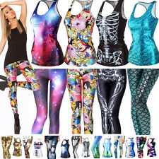 Women 3D Digital Print Vest T-Shirt Tank Top Sports Casual Skinny Leggings Pants