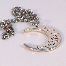 """Moon """"I Love You To The Moon"""" Necklace, Silver Handmade Free Ship Unique Gift"""