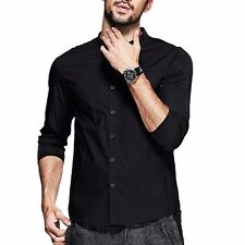 Handsome Black Mens Long Sleeve Stand Collar Solid Slim Casual Shirt  M to 2XL