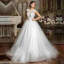 New Tulle Lace A-line Wedding Gown Bridal Long Dress White/Ivory Custom Size6-18