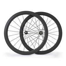 Ship From UK 3K 50mm Clincher Carbon Wheels Racing Bicycle Road Bike Wheelset