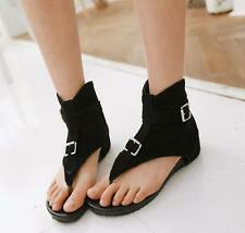 Womens Ankle Boots Roman Buckle Gladiator Flip Flops Flats Thong Sandals New YT