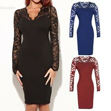Bodycon Women V-neck Long Sleeve Patchwork Package Hip Party OL Dress New BLLT