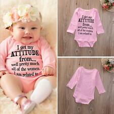 Newborn Infant Kid Baby Girl Bodysuit Letter Romper Jumpsuit Outfit Pink Clothes