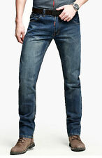 Fashion Cowboy Style Mens Casual Slim Straight Leg Pants Deep Blue Trousers