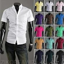2017 Stylish Tops Men's Casual Shirts Slim Fit Dress Shirts Short Sleeve Butto