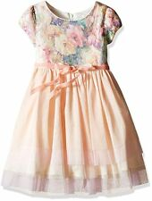 LITTLE ANGELS Girls 2T Us Angels Sequin Tulle Floral Occasion Party Dress Coral