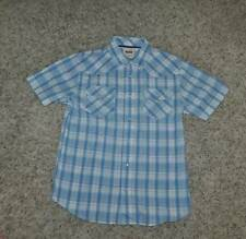 NWT $46-Mens Levis Blue White Plaid Short Sleeve Snap Front Western Shirt- S & L