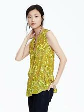NEW Banana Republic Womens Tie Floral Paisley Yellow Blouse Sleeveless XL $78 NW