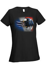 Women's Ladies T Shirt Patriotic Bald Eagle USA Flag American Red White Blue Tee