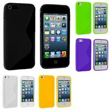 For Apple iPhone 5 5G 5S Color TPU Solid S-Shape S-Line Rubber Skin Case Cover