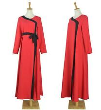 Fashion Muslim Women Elegant Red Dress Abaya Arabic Islamic Abaya Clothing Dress