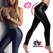 High Waisted Women's Faux Leather Stretch Skinny pencil Pants Leggings SFC