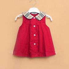New Baby Girls Casual Button Dress Plaid Collar Children Red Blue White Dress