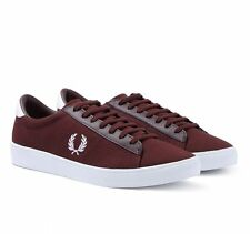 Fred Perry Men's Spencer Canvas Trainers Burgundy Shoes - B6281-537