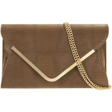 Faux Leather Envelope Clutch Bag With Detachable Chain