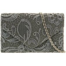 Lace Overlay Envelope Clutch Bag With Detachable Chain