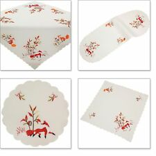 Red Fox Embroidery Table runner Tablecloth Table overlay Doily Linen-look White