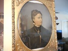 Antique Authentic Charcoal Drawing of Victorian Woman with Cross 1800's Framed