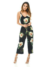 AX Paris Womens Jumpsuit Navy Blue Floral Printed Culotte Sleeveless Romper