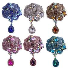 Stunning Ladies Crystal Floral Brooch Pin Sapphire Ruby Teardrop Bride Jewelry