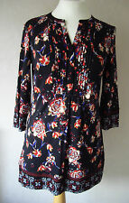 New M&S - size: 8 10 12 - lovely BLACK floral print LADIES TOP/Tunic - BNWoT