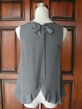 """Darling MADEWELL """"Bow-Back"""" 100% Silk Gray Sleeveless Top/Blouse SM  EXCELLENT!"""
