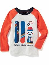 New OLD NAVY Boys Shirt Size 12 18 months SNOWBOARD Long Sleeve Cotton Tee Baby