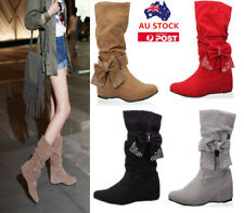 NEW WOMENS FAUX SUEDE BOW MID-CALF FLAT BOOTS LADIES WINTER WEDGE SHOES SIZE