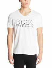 HUGO BOSS MEN'S BEACH GRAPHIC TEE SHORT SLEEVE V-NECK T-SHIRT WHITE 50286758