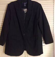 NWT ROAMANS DENIM 24/7 PLUS SIZE WOMEN BOYFRIEND BLAZER JACKET BLACK 14W - 32W
