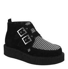 T.U.K A8445 Black Suede W/Houndstooth Vamp 2 BuckleRound Toe Low Sole Creeper