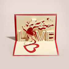 Handmade Valentine's  Day Gift Blessing Paper-cut Greeting Card Cards Creative