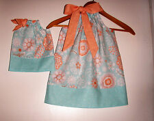 Dolly and me Matching American girl doll dress Coral and Aqua  pillowcase dress
