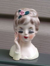 "Vintage Inarco E-480  Miniature 3"" High Headvase With Foil Label-RARE-Dated 1963"