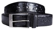 New Mens Black Stud Textured Genuine Leather Fashion Pin Loop Buckle Belts S-3XL