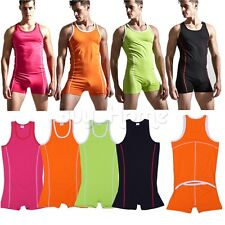 Mens Stretch One-Piece Bodysuit Leotard Boxer Briefs Underwear Wrestling Singlet