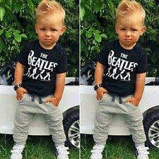 Toddler Kid Baby Boy Short Sleeve T-shirt + Sweatpants Trousers Outfits 2PCS Set