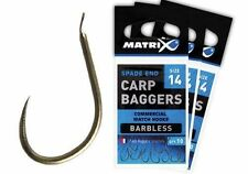 MATRIX CARP BAGGERS SPADE END BARBLESS HOOKS. ALL SIZES AVAILABLE.LOW POSTAGE.