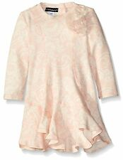 NWT Baby Girls 12M KATE MACK Oodles Of Poodles Lace Print Ruffle Dress Pink Knit