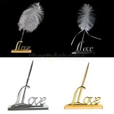 Ostrich Feather Wedding Business Quill Signing Pen Metal Holder Silver/Gold