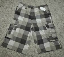 NWT $32-Boys Emachine Brown Plaid Casual Cargo Shorts-size 14 & 16