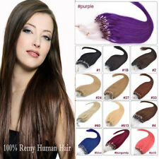 "100S LOOP/MICRO RING HUMAN HAIR EXTENSIONS 20""22""24""26"" Straight 50gr 80gr"