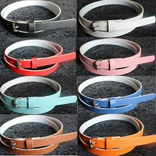 Metal Buckle Faux Leather 8 Candy Colors Waist Belt Women Accessories Thin