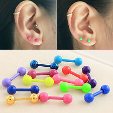 R 2x Stainless Steel Barbell Cartilage Helix Tragus Ear Studs Earring Piercing
