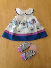 NWT Gymboree Hippos and Bows Beach Cabana Dress Crib shoes Set 4pc 0 3M baby